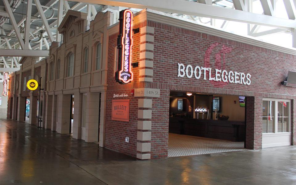 Exterior of Bootleggers Bar at Reds Stadium
