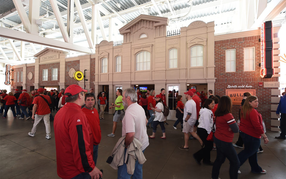 Crowds in front of Bootleggers Bar at Reds Stadium
