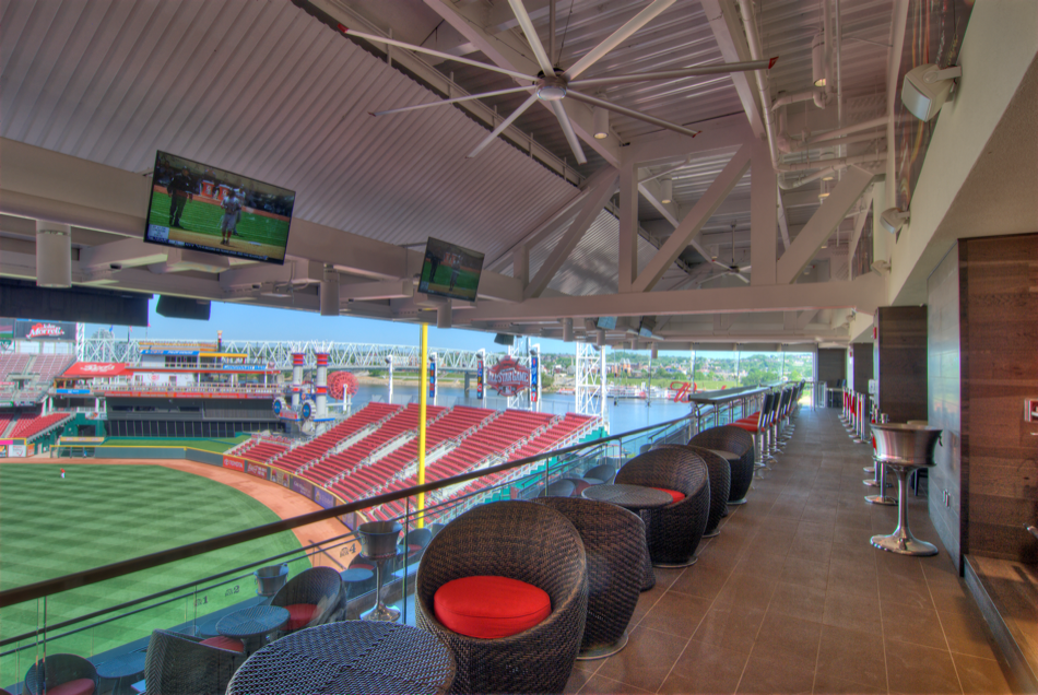 Great American Ball Park Handlebar overlooking field