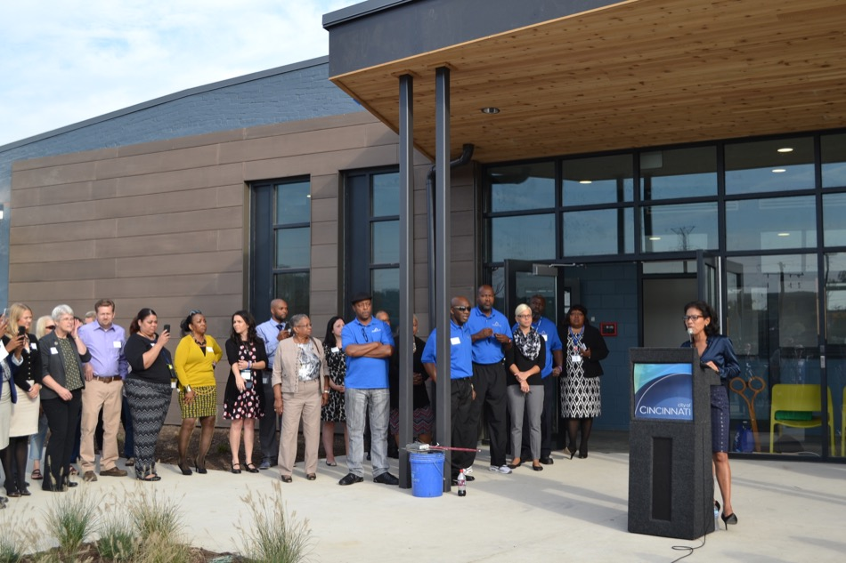 Barron Center exterior, speakers celebrating opening