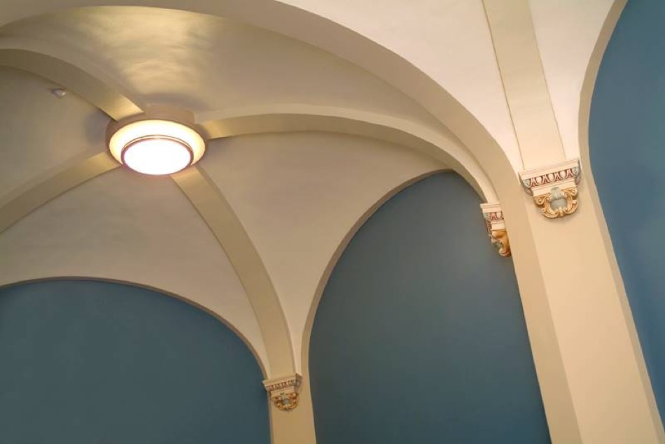 Carnegie Visual and Performing Arts Center detail of restored ceiling