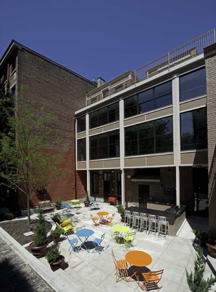 Parvis Lofts, renovated exterior patio and outdoor entertainment space