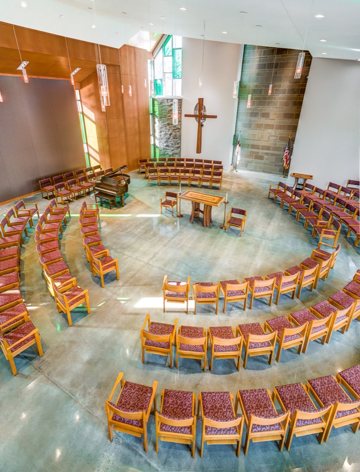 Christ Church Glendale interior worship space, aerial view