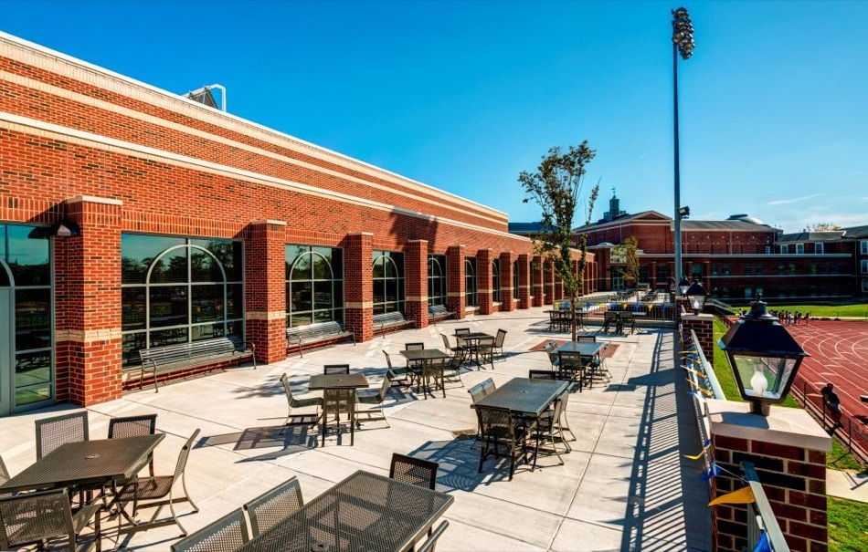 walnut hills high school renovation, patio with tables