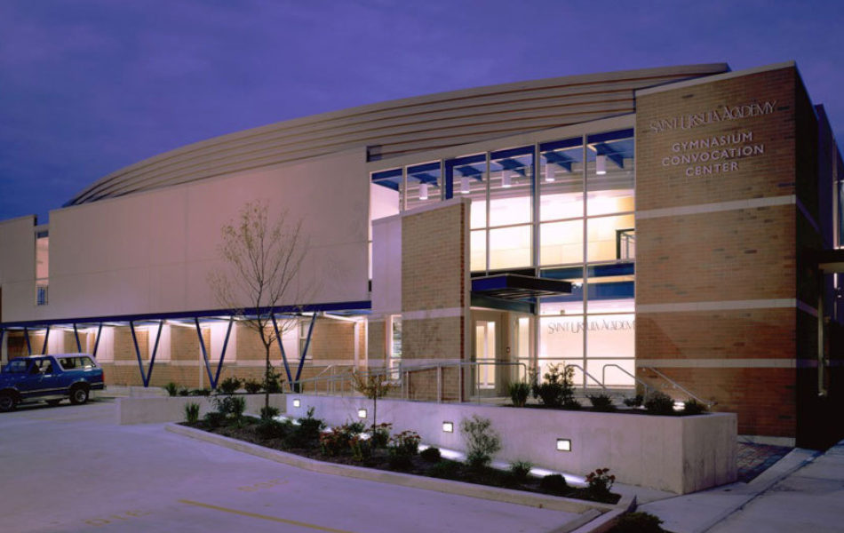 St. Ursula Academy gymnasium exterior at night