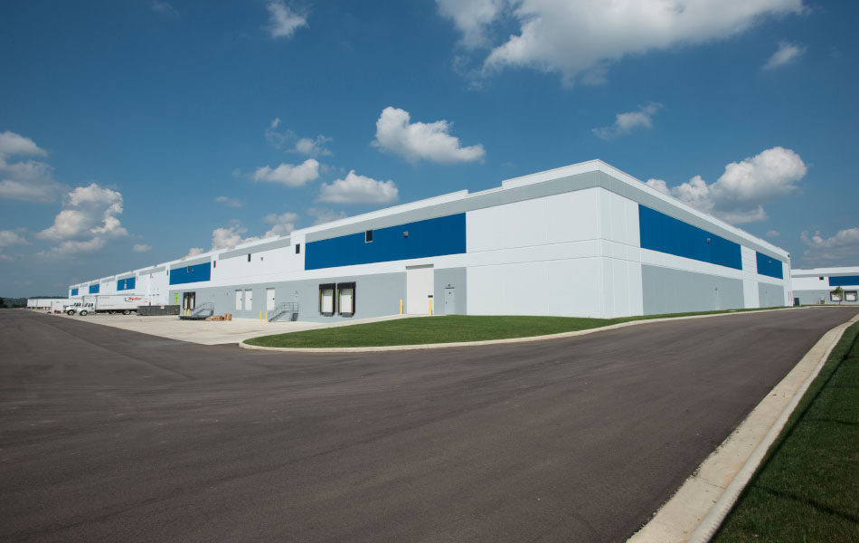 Exterior, industrial delivery station, back with loading docks