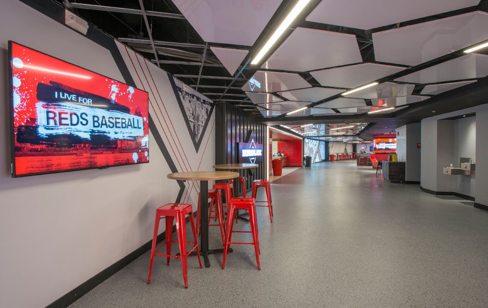 GABP Scouts Club Hallway and bistro tables
