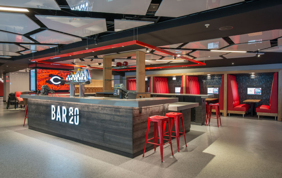 GABP Scouts Club bar and booth seating