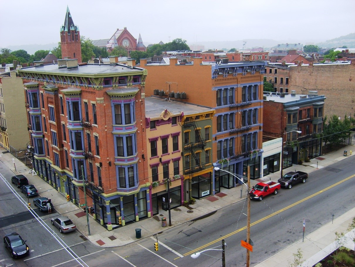 Aerial view of completed renovations in Over-the-Rhine historic neighborhood