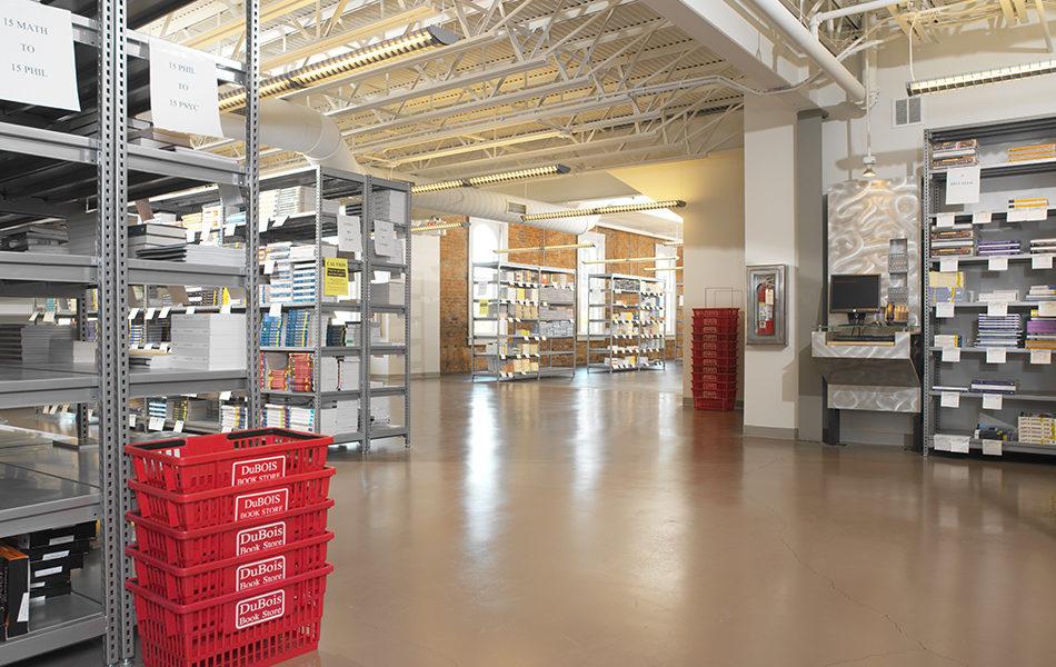 Dubois Bookstore interior, book stacks