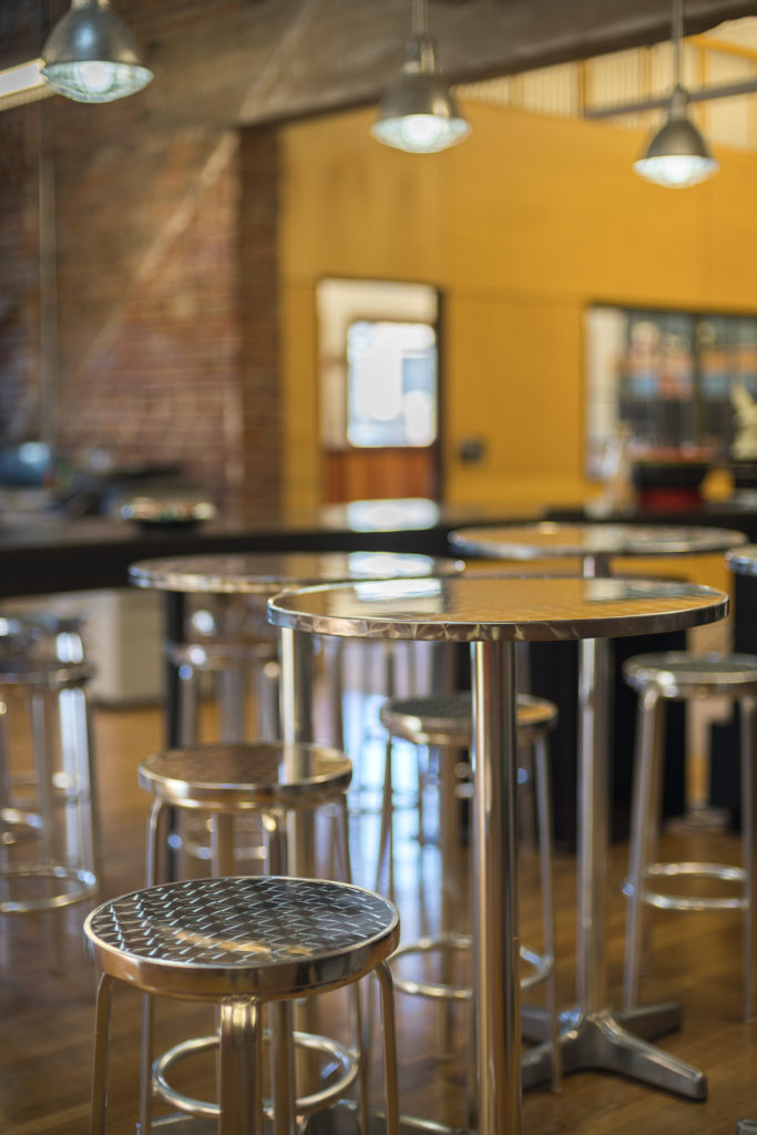 Chrome bistro tables and stools