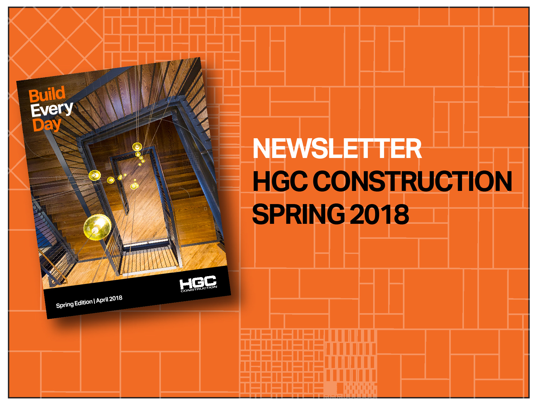 An orange background with gridwork overlay. The cover of the Spring Newsletter is displayed, angled slightly. The cover features an aerial view of a large wooden staircase with steel rails, and bright yellow globe lights dangling through the center of the stairwell.