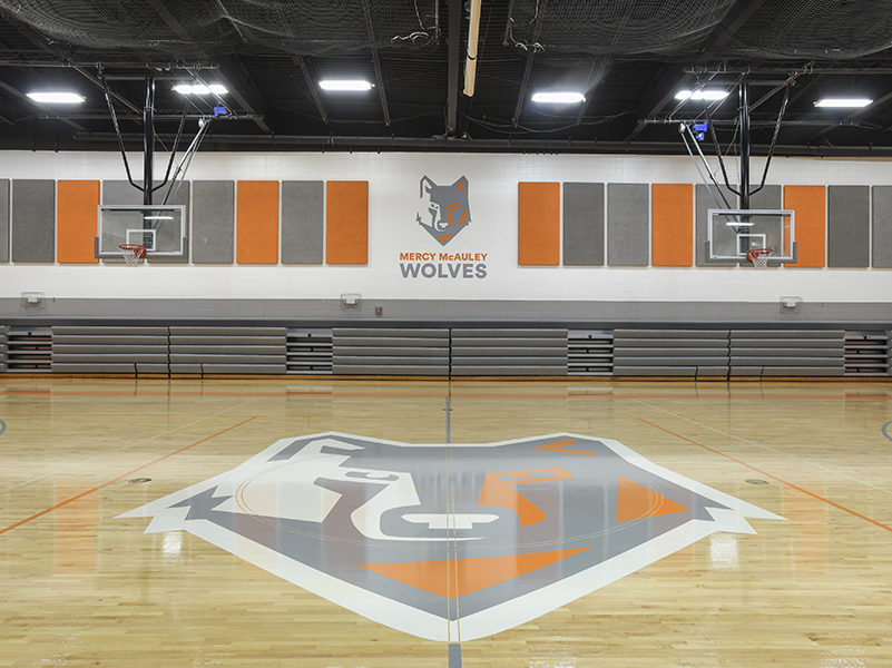 A school gymnasium. The wolf mascot is painted on the center of the court in gray, white and orange. The mascot image is also painted on the wall, with