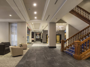 Large common area in hotel.
