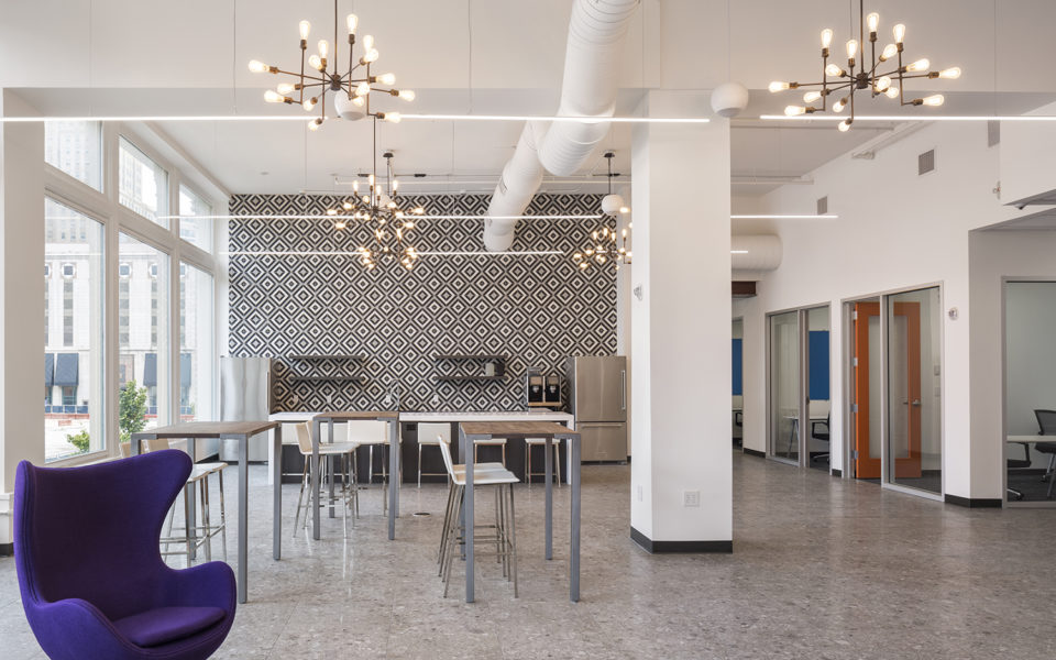 Novel Coworking, shared amenity space with kitchen and bar