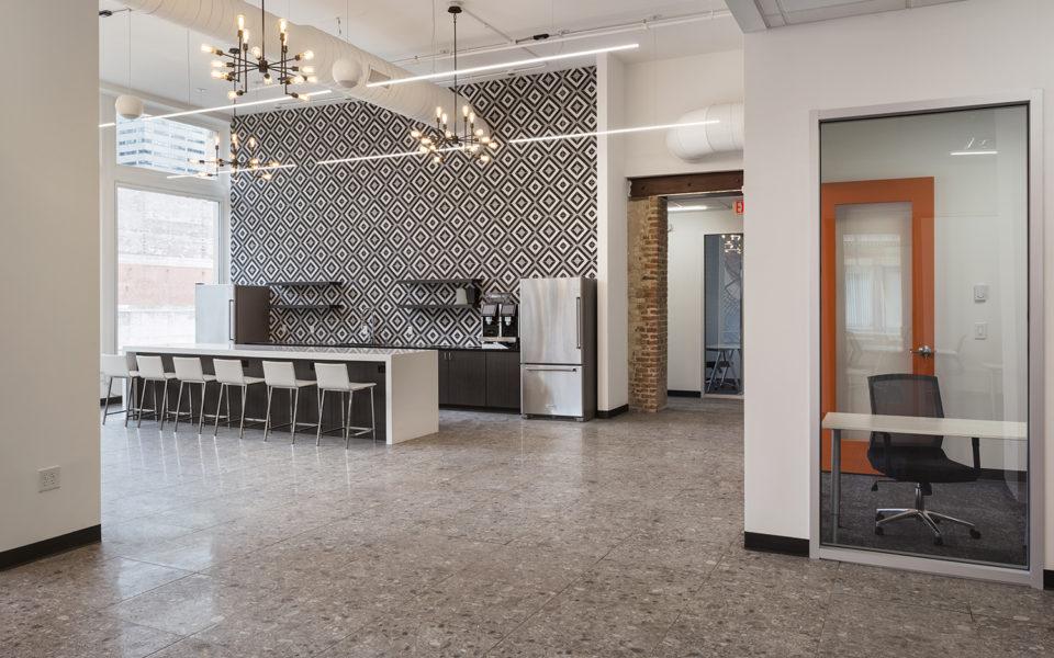 Novel Coworking interior, kitchen area