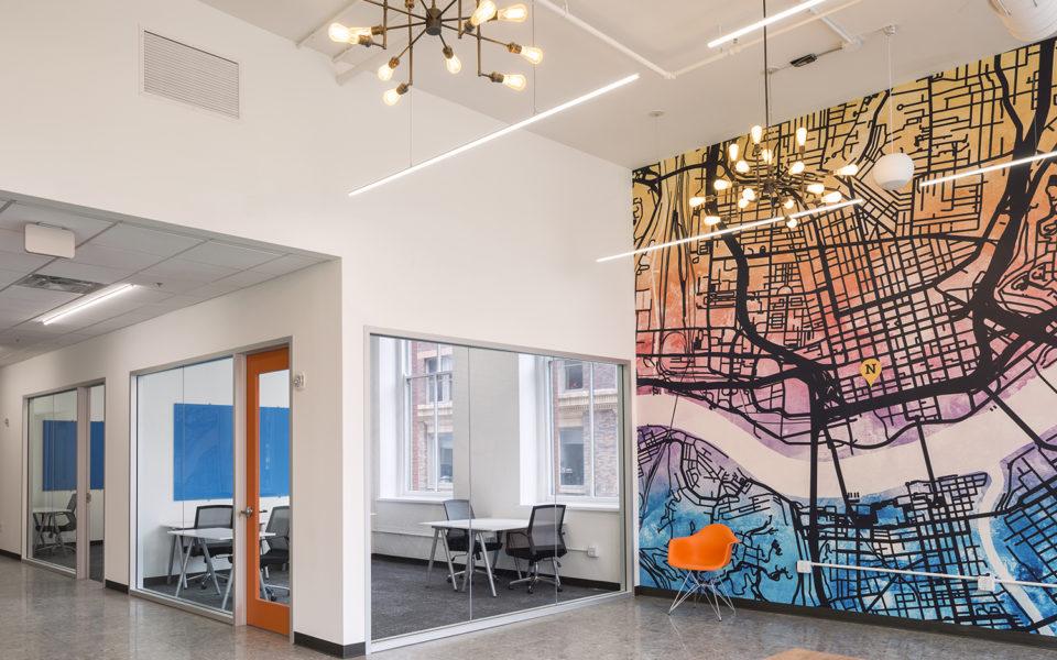 Office interior, large wall art