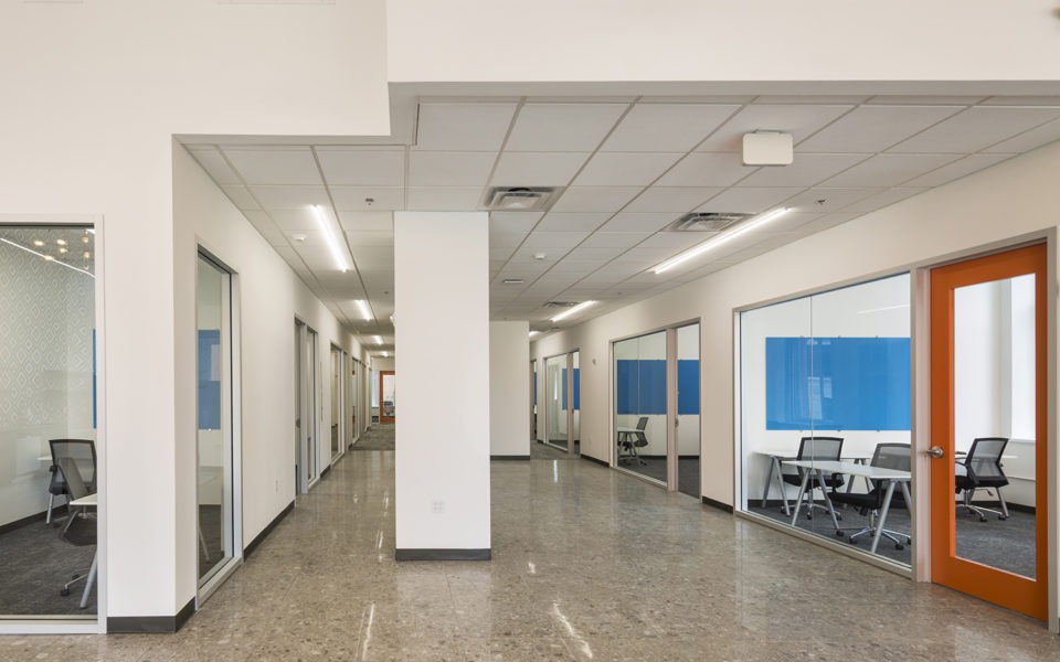 Office interior, wide hallway