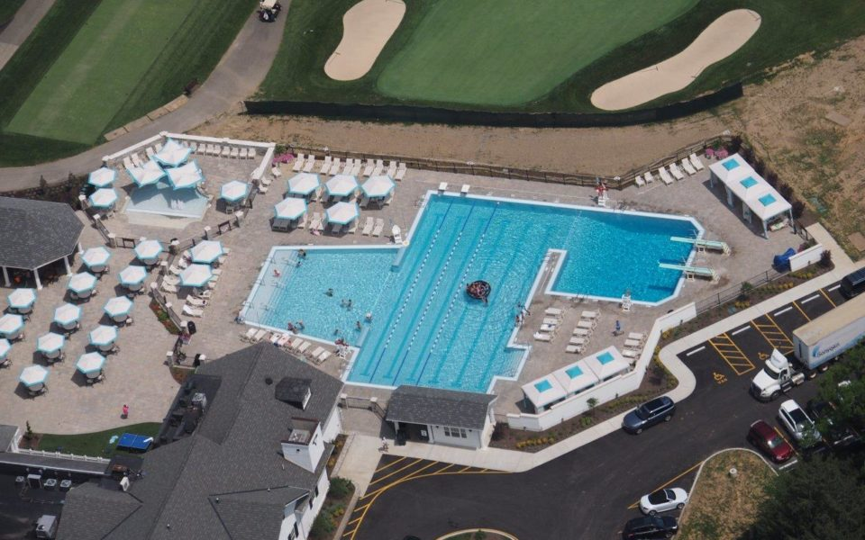 Hyde Park Country Club aerial view of pool and golf course