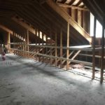 Wooden beams for structural framing on a second floor