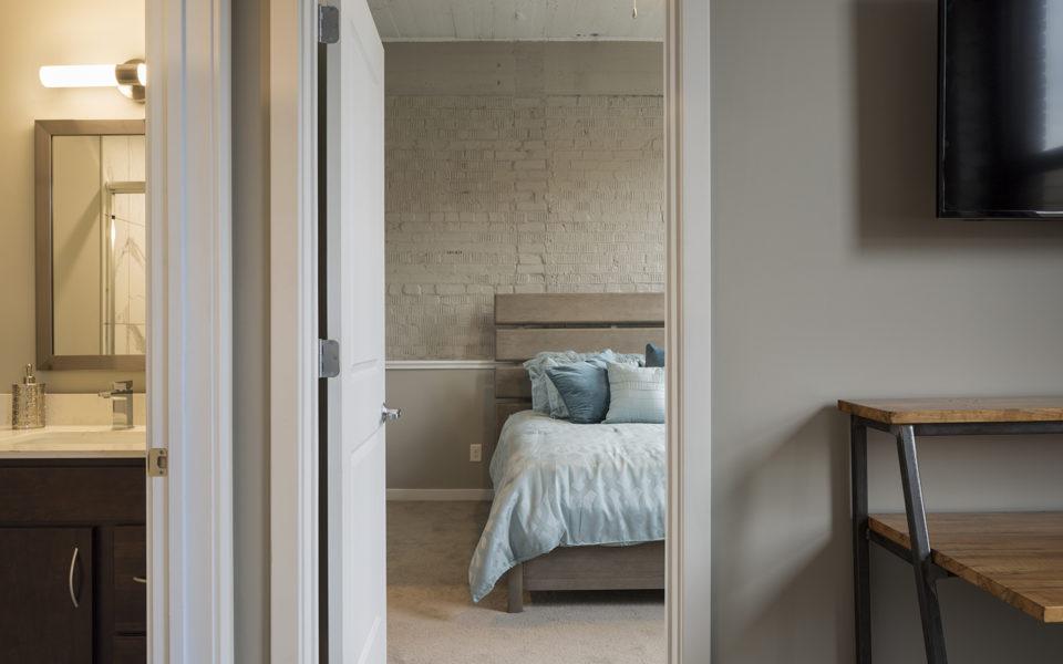 Interior of Crane Factory Flats doorway from sitting area into bedroom