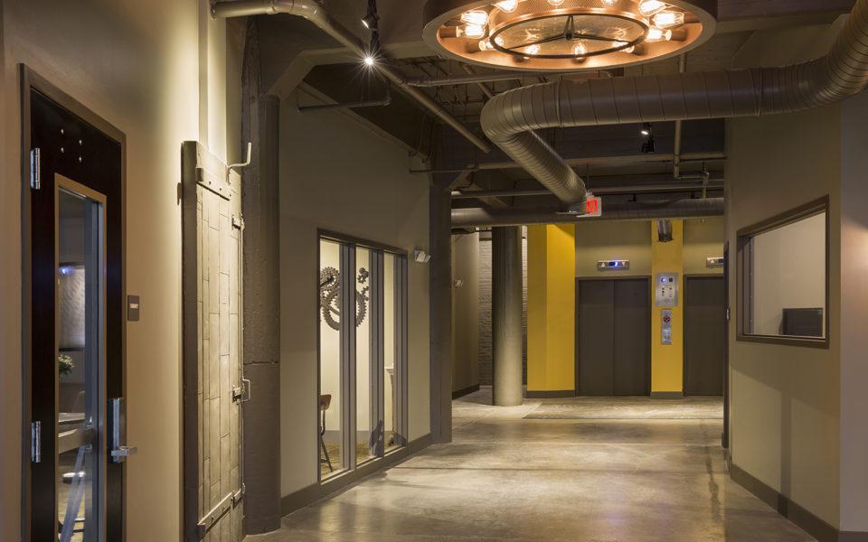 Interior of Crane Factory Flats hallway to elevators
