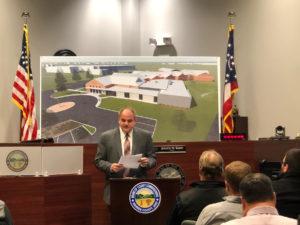 Honorable Joseph W. Kirby speaking at Warren County Probate Juvenile groundbreaking