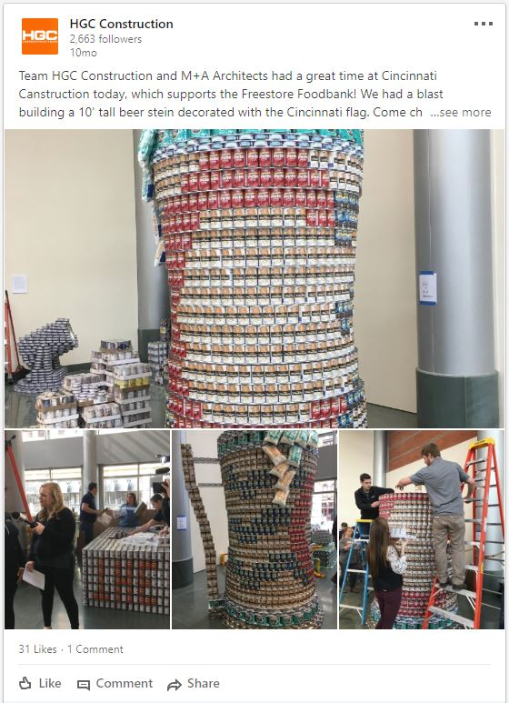 LinkedIn post about CANstruction