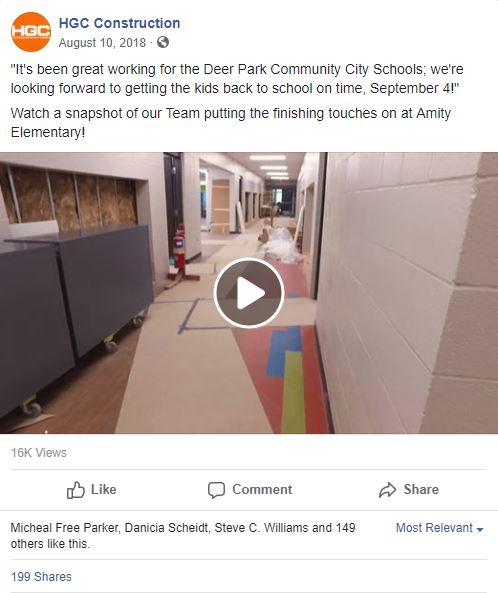Facebook post about Amity Elementary