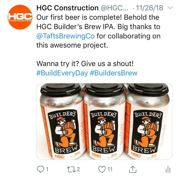 Most popular Twitter post about Builder's Brew