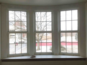 Bay window with updated trim from Miami University carpentry