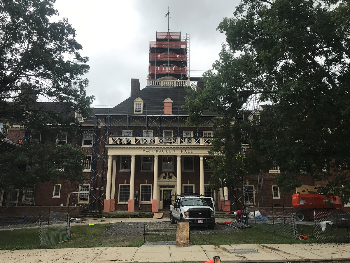 Exterior MacCracken Hall at Miami University, under construction