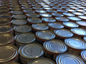 Array of tops of canned goods