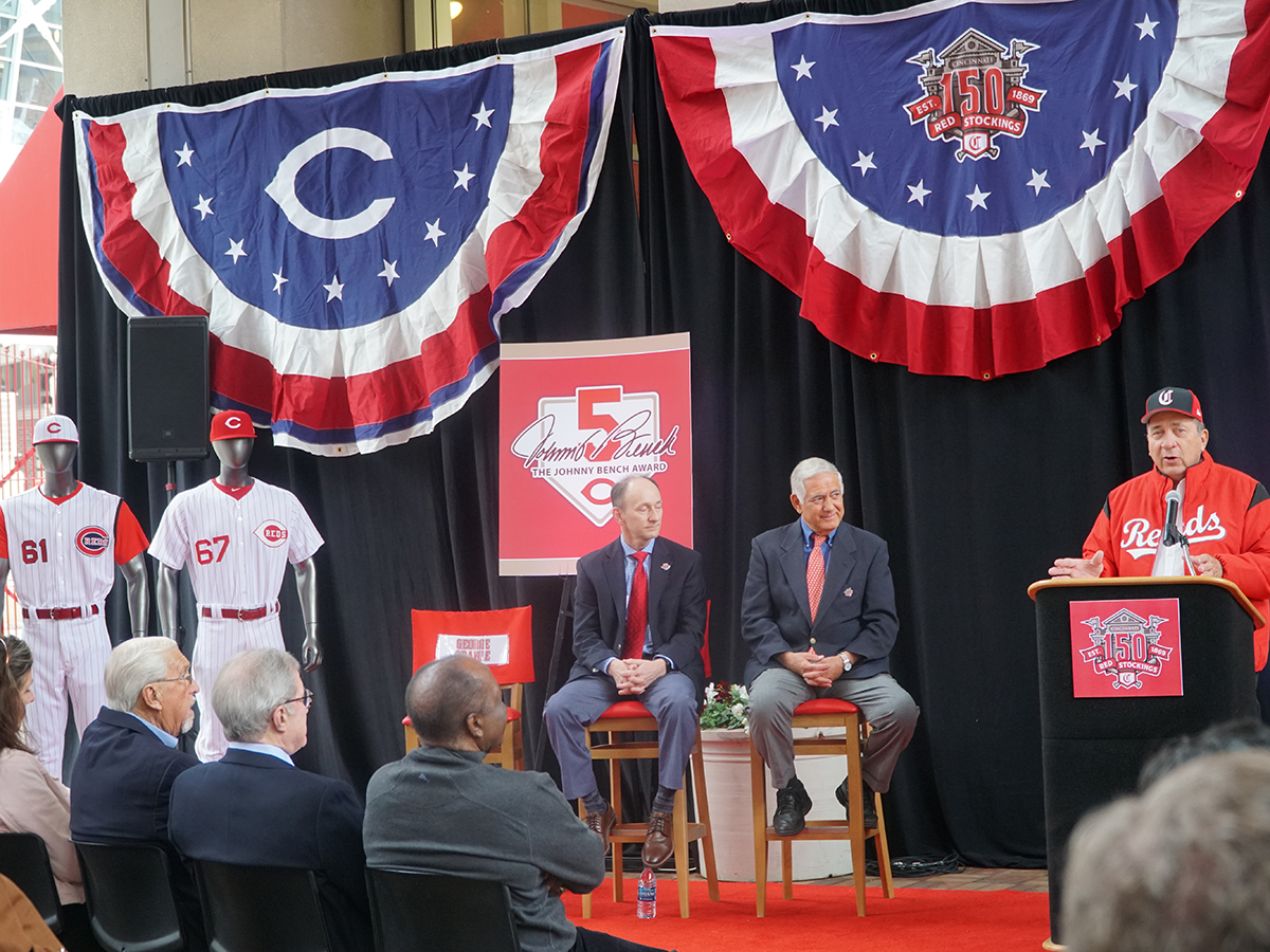 Speakers at the Reds Hall of Fame ribbon cutting