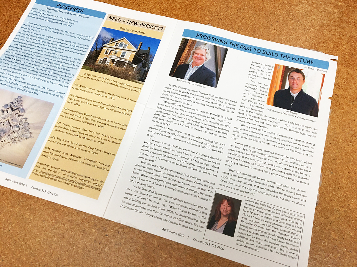 HGC interview in Cincinnati Preservation Association newsletter