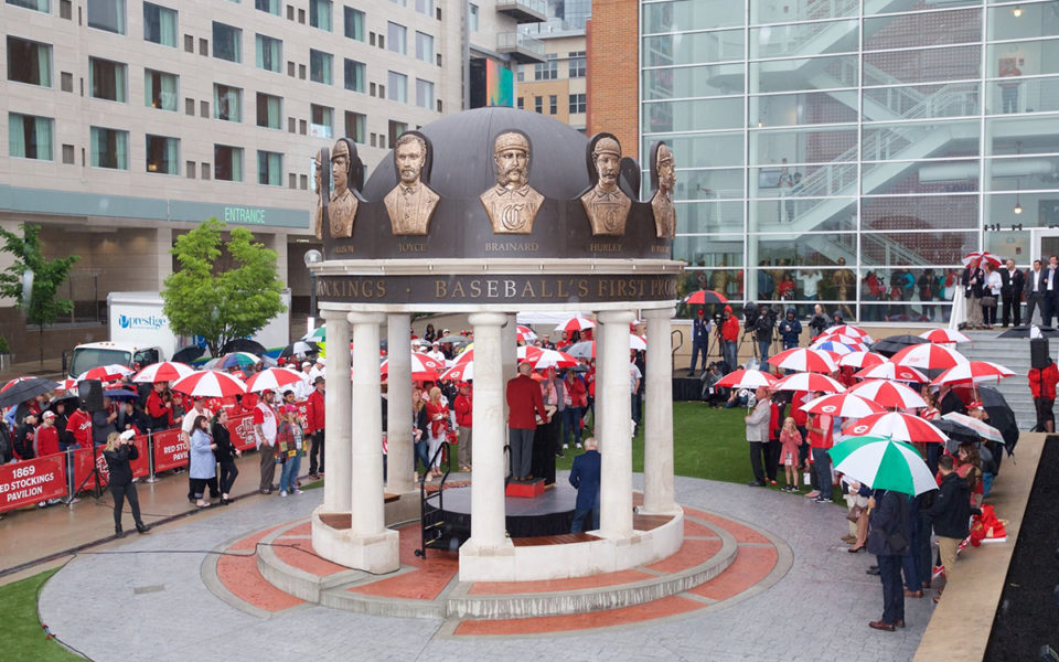 Crowds of people at the ribbon cutting for the 1869 Red Stockings Pavilion