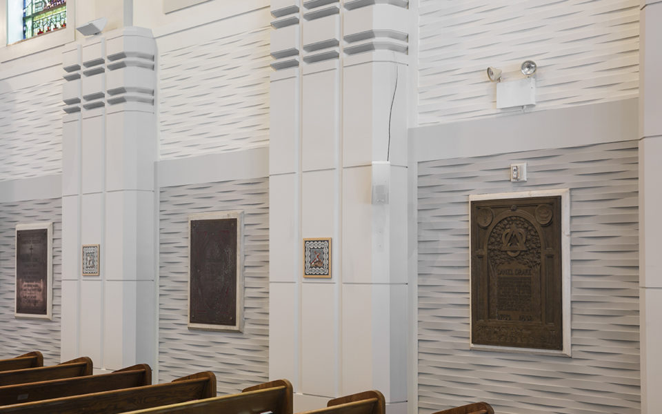 Interior of acoustic panels as part of Christ Church Cathedral Nave Organ Project