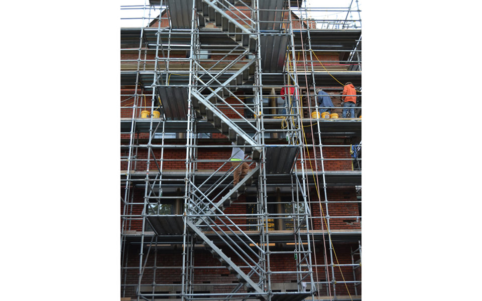 scaffolding at OSU Hayes and Hall Hall