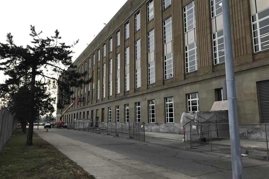 Exterior USPS Windows under construction
