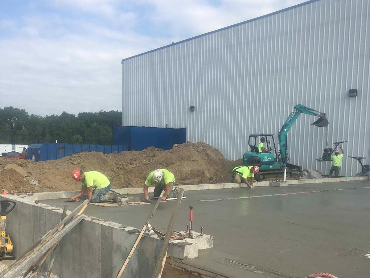 concrete pout as pilot chemical begins