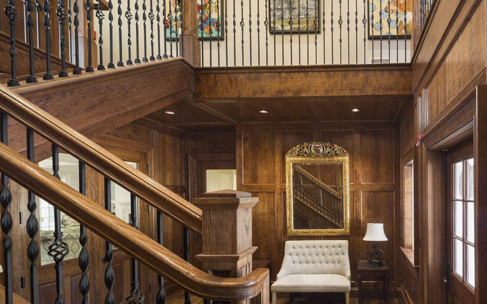 Dark wood trimmed hall entrance at Meshewa house