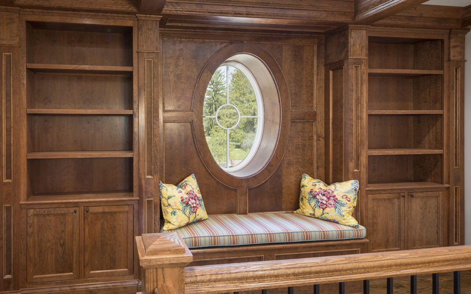 built-in bookcase and window seat at Meshewa house