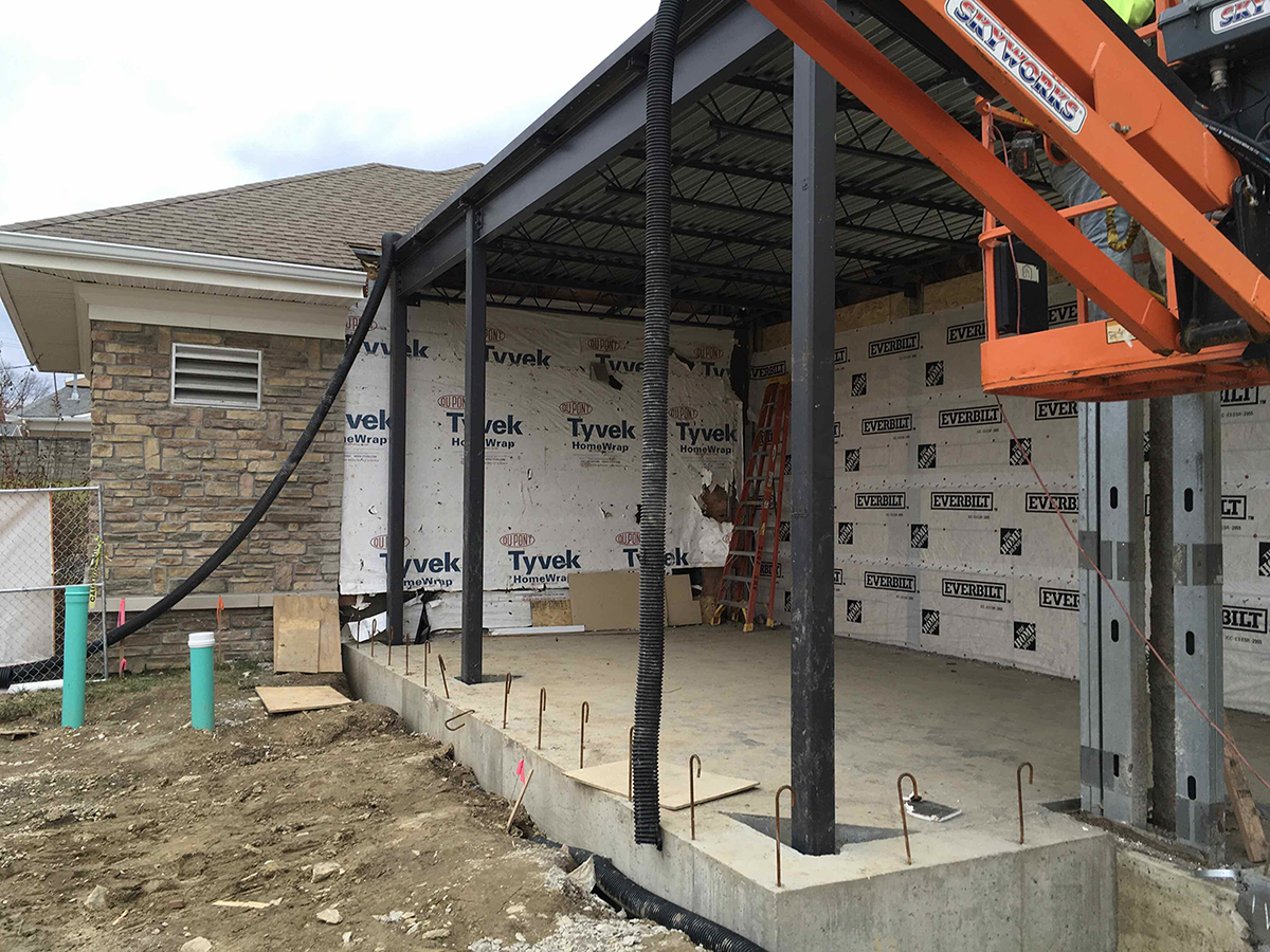 structural steel at Twin Lakes addition