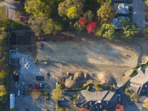 Drone image of site work at Maple Knoll Village
