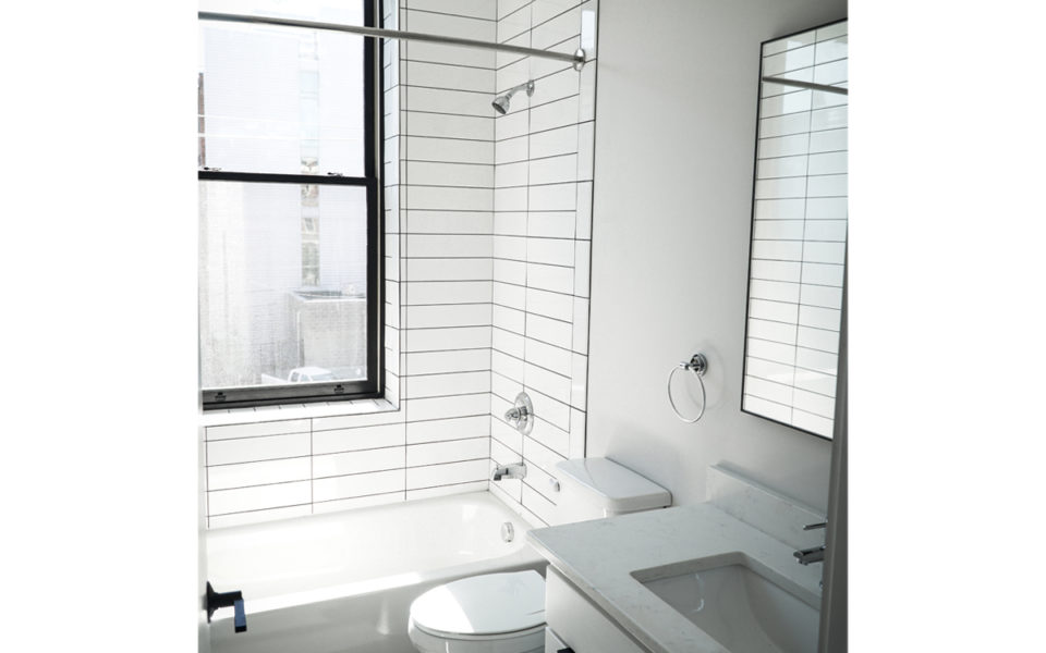modern bathroom unit, white tile