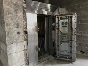 a historic bank vault in the former bank in Norwood