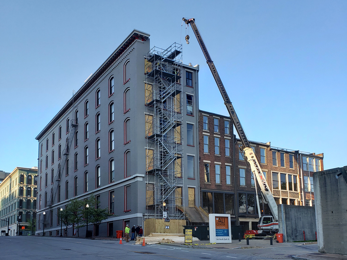 exterior of future Grady Hotel under construction