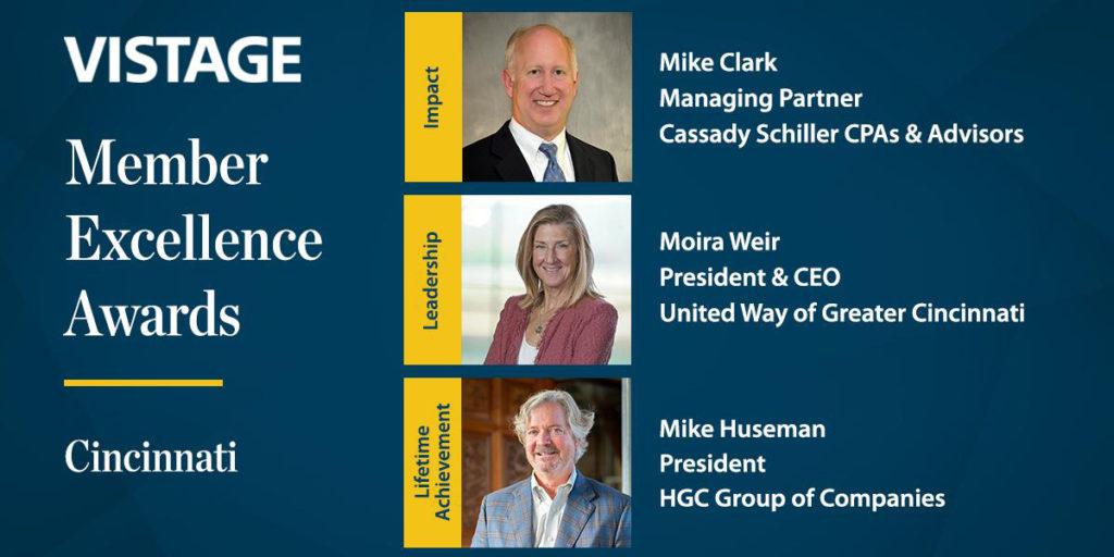 Three winners of 2020 Cincinnati Vistage Awards