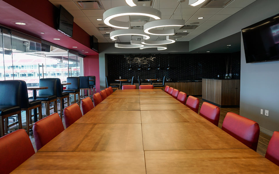 Large conference table at new Executive Super Suite at Great American Ball Park