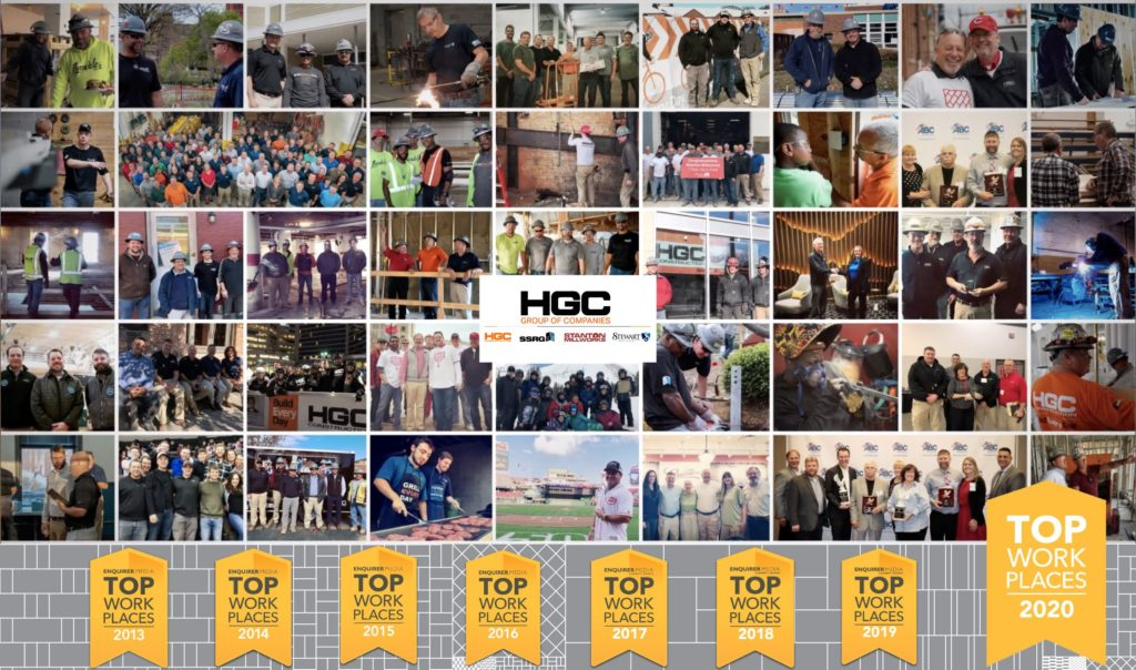 collection of photos of workers at hgc group of companies with top workplaces badge